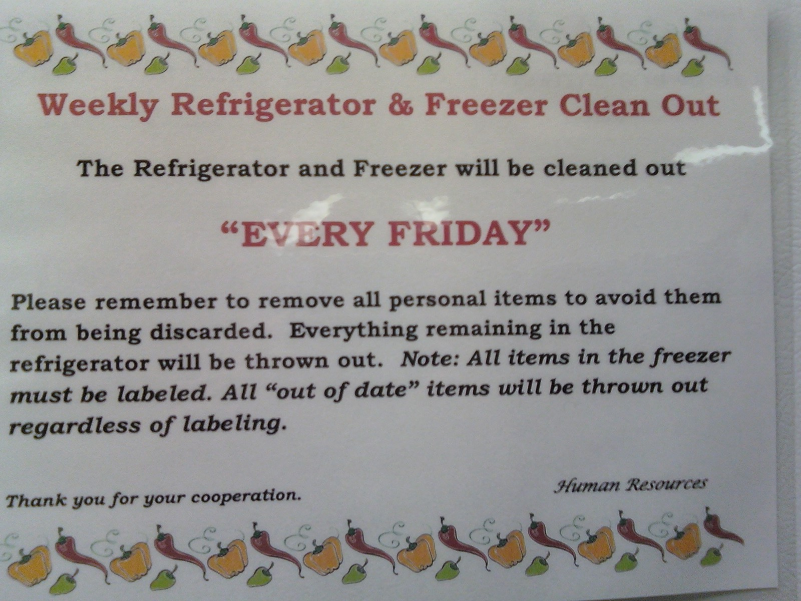 Office Refrigerator Rules