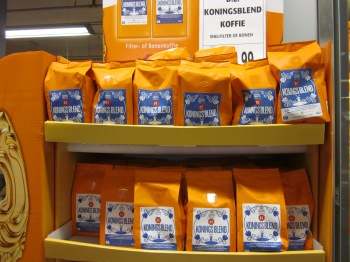 Douwe Egbert's coffee offering a koningsblend (king's blend)