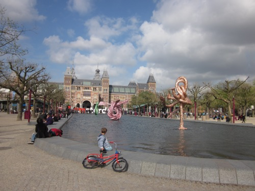Looking up Museumplein toward the Rijksmuseum