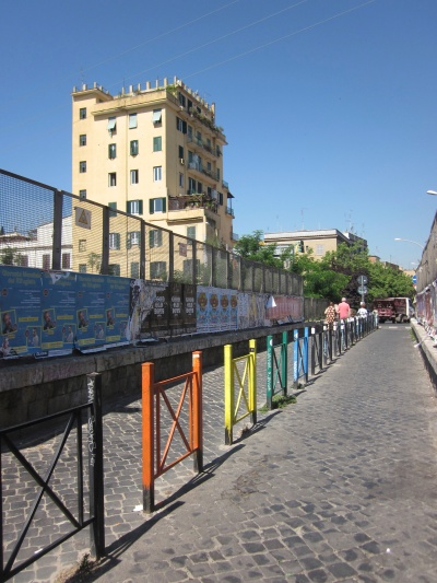 Festive footbridge on the Via del Pigneto crossing over Circonvallazione Casilina