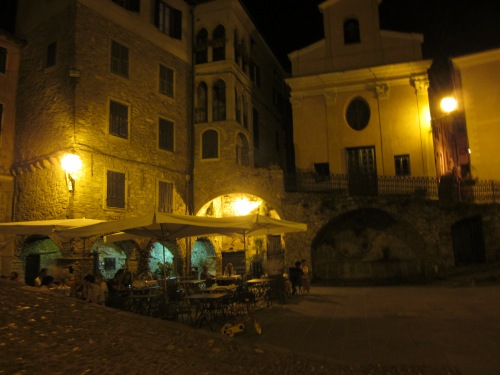 piazza at night