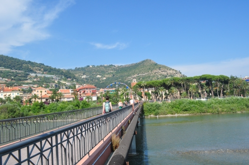 Crossing the bridge to the new town of Ventimiglia