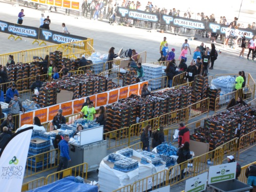 Crates of oranges for the runners